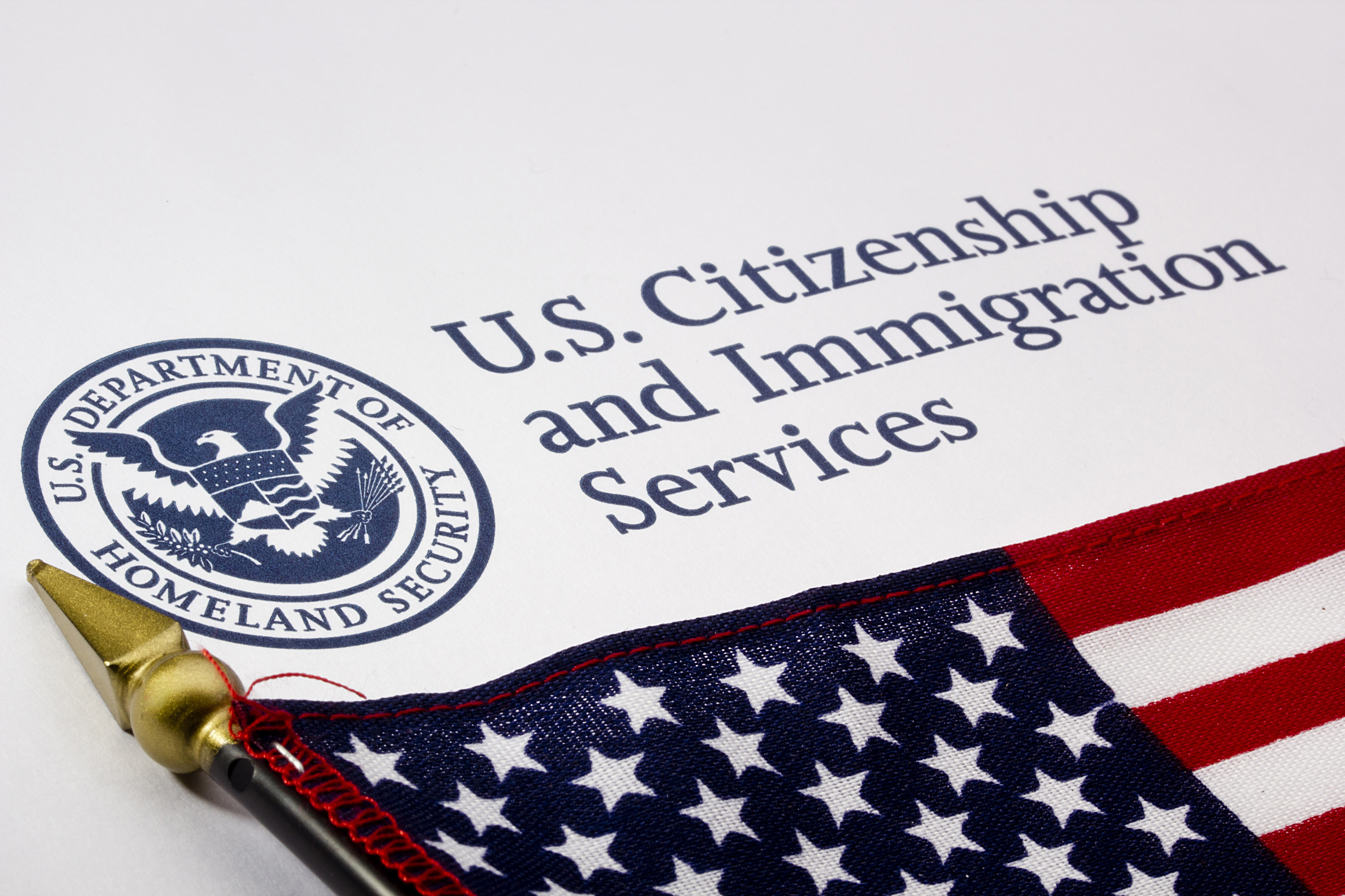 U.S. Citizenship and Immigration Services form next to an American flag