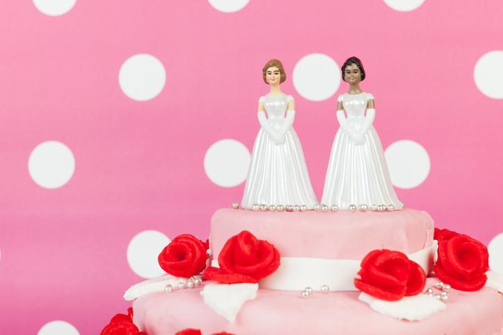 Wedding cake with lesbian couple