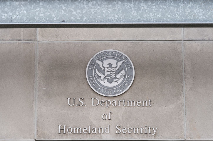 Milwaukee, WI, USA- 8 March 2016: U.S, Department of Homeland Security logo on a federal building