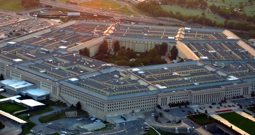 US pentagon building aerial view at sunset