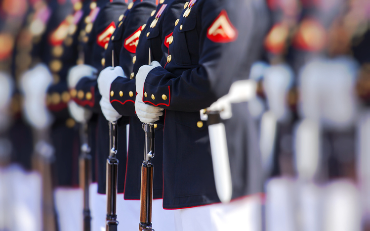 United States Marine Corps officers standing in formation