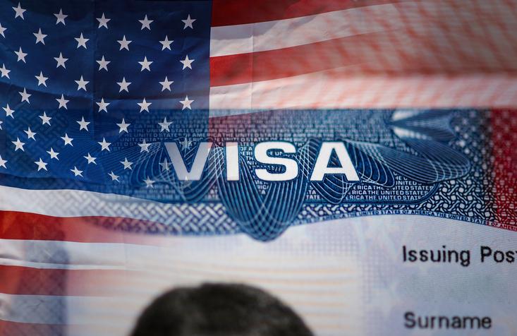 Close-up detail of American VISA