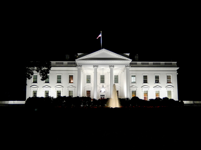 Night view of the White House, the residence of the president of the United States of America, in Washington, DC.