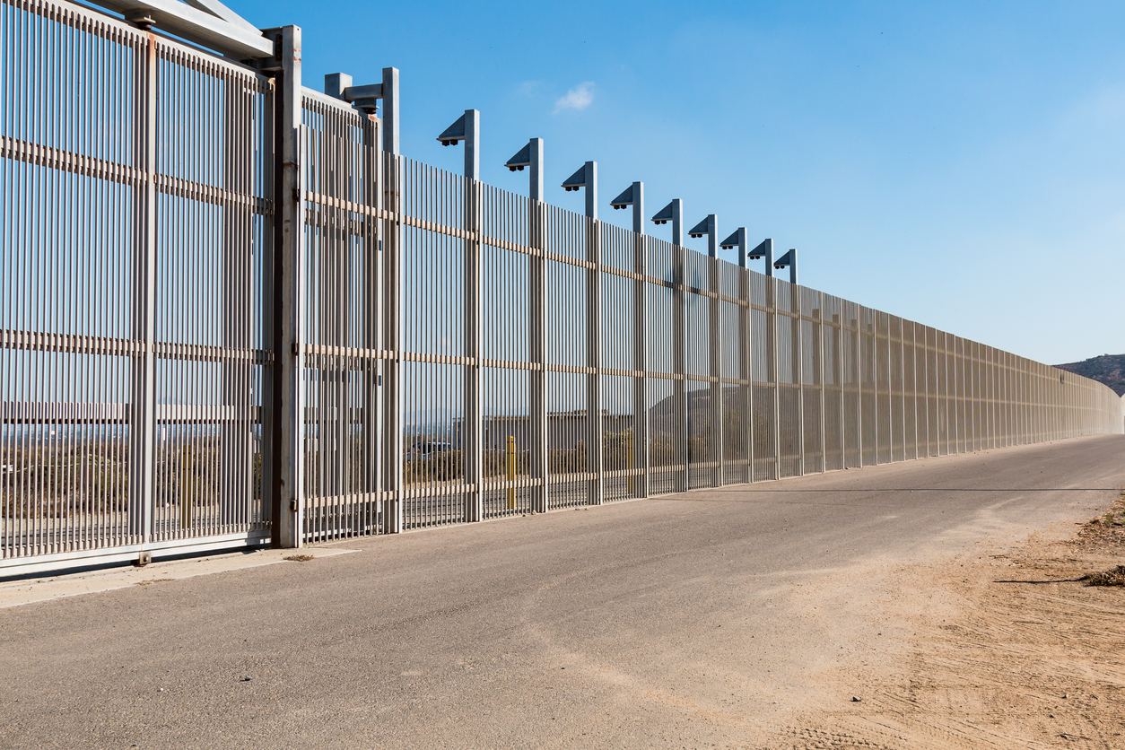 Section of Inner International Border Wall Separating San Diego and Tijuana