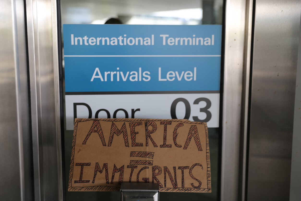 Protest Sign Outside the Arrivals Terminal at San Francisco International Airport