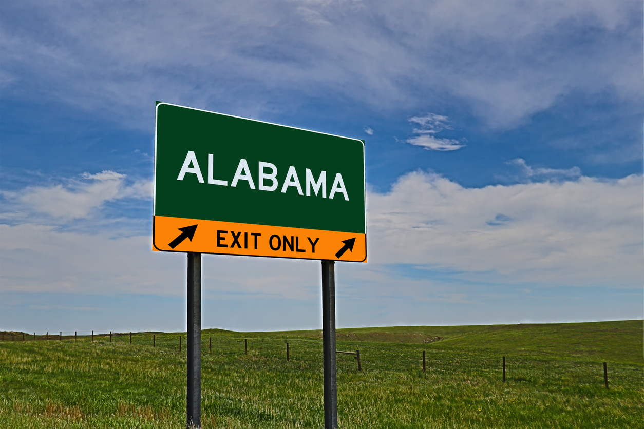ALABAMA US Highway Exit Only Sign