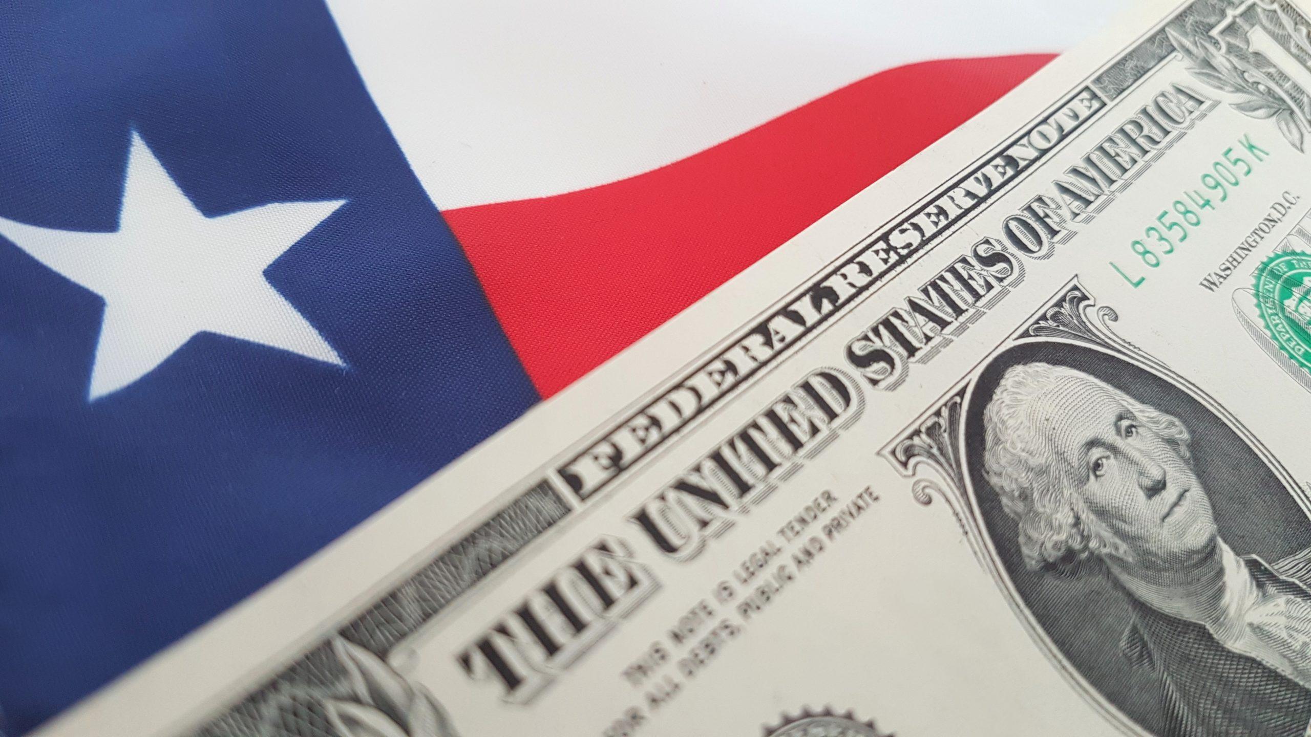 Texas flag with a dollar