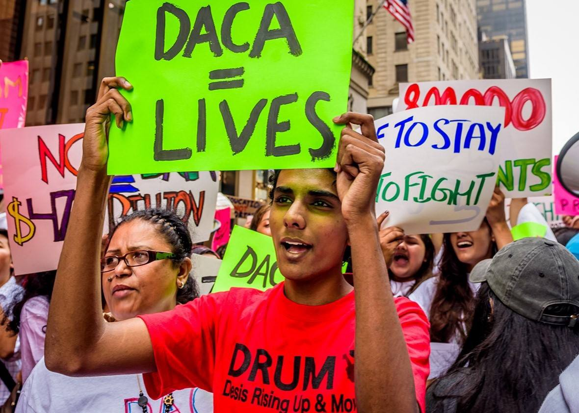 Protestor with DACA sign