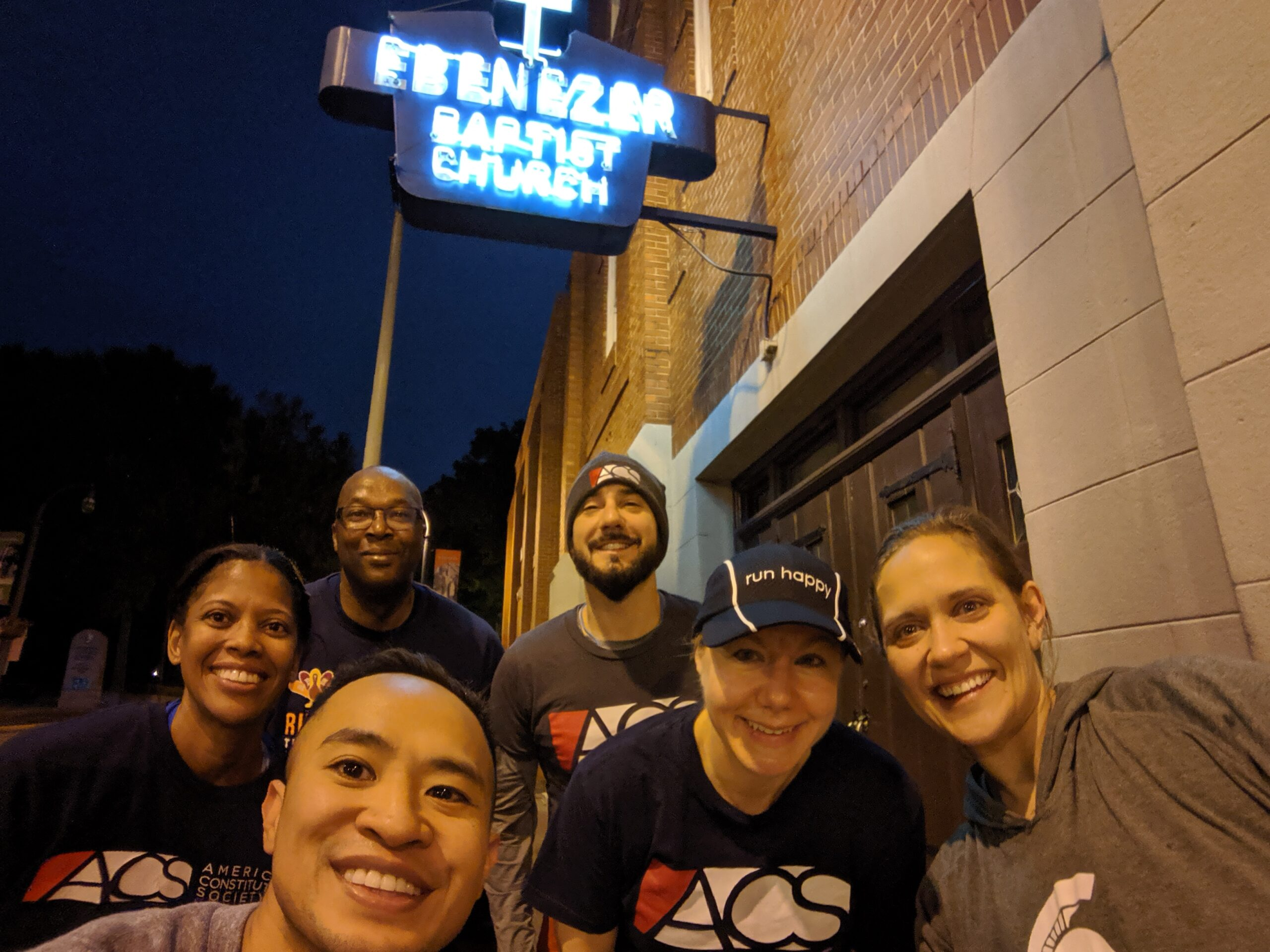 The author (back left) and other ACSers out for an early morning run during the 2019 Atlanta convening.