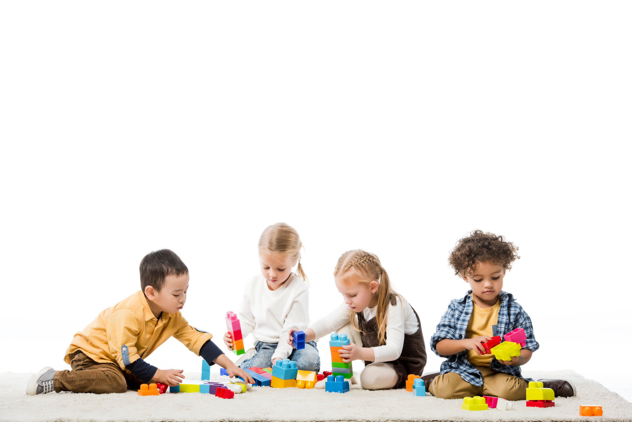 Children playing with wooden blocks