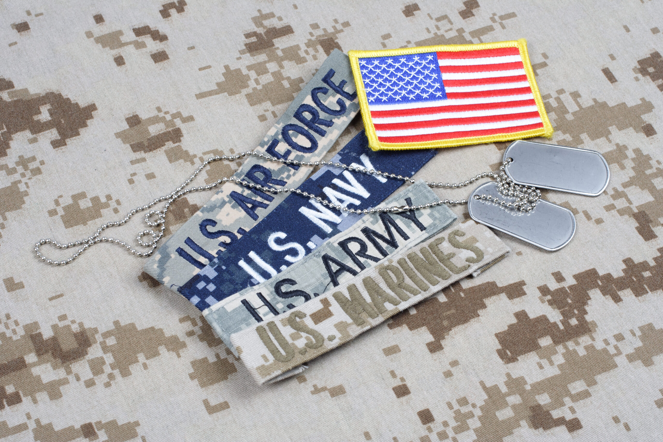 Branch tapes and dog tags on camouflage uniform